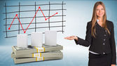 Businesswoman points hand on white boxes and money — Stock Photo