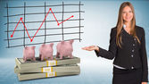 Businesswoman points hand on piggy banks and money — Stock Photo