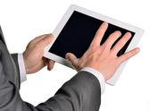 Dijital tablet, closeup tutan işadamı — Stok fotoğraf