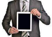 Businessman holding digital tablet, closeup — Stock Photo