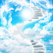 Spiral stairs in sky with clouds and sun — Stock Photo #51238277