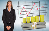 Businesswoman with barrels gas and money — Foto Stock