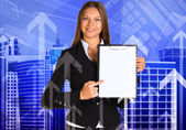 Businesswoman holding paper holder — Stock Photo