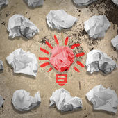 Bulb made of crumpled paper — Stock Photo