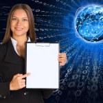 Businesswoman holding paper holder — Stock Photo #51527241