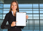 Businesswoman holding paper holder — Foto Stock