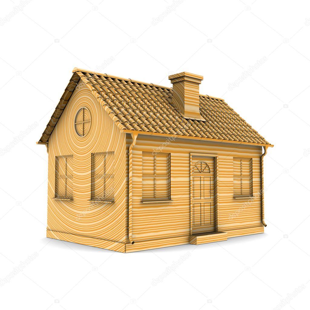 木头房子.3d 渲染