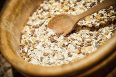Muesli in a wooden Bowl — Stock Photo