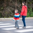 Mother and Son crossing the Street — Stock Photo