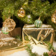 Golden Packages for Christmas — Stock Photo