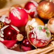 Christmas Balls in a Basket — Stock Photo