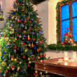 Christmas Tree in a rustical room — Stockfoto