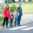 Family will passing the Crosswalk — Stock Photo