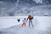 Ice Skater on a frozen Lake — Stock Photo