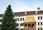 Golden Roof with Christmas Tree — Stock Photo