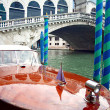 Motorboat and Rialto Bridge — Stock Photo