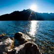 Late Sun over Lake - Stock Photo