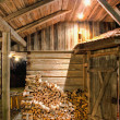 Wooden Barn at Night — Stockfoto