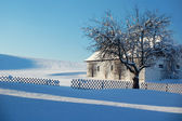 Farm in Winter Landscape — Stock Photo