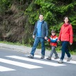 图库照片: Family crossing Road