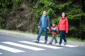 Familie kruising de weg — Stockfoto