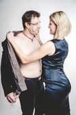 Woman undressing her Friend — Stock Photo