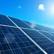 Solar Panel with Sun - Stock Photo