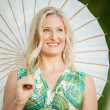 Blonde Woman with white Umbrella — Stockfoto
