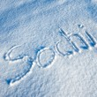 Sochi written in Snow - Stockfoto