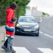 Car stopped for pedestrian — Stock Photo