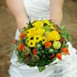 Woman with a Wedding Bouquet — Stock Photo