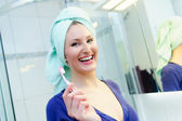 Pretty Woman with a Toothbrush — Stock Photo