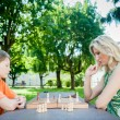 Mother and Son playing Chess — Stock Photo