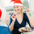 Eating Christmas Cookies — Stock Photo