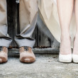 图库照片: Feet of Wedding Couple
