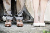 Feet of Wedding Couple — Stock Photo