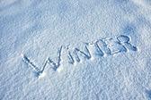 Word Winter written in Snow — Stock Photo