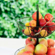 Apples and Peaches in a Basket — Stock Photo