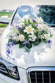 White Car with Flower Bouquet — Stock Photo