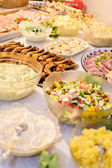 Salad and meat buffet — Stock Photo