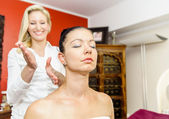 Masseuse beating with her Hands — Stock Photo