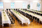 Festive Hall with Decorated Tables — Stock Photo