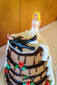 Funny wedding cake top — Stock Photo