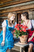 Two Woman wearing austrian Dirndl — Stock Photo