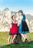 Girlfriends in the alps — Stock Photo