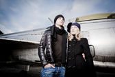 Man and woman with fighter plane — Stock Photo
