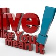 Live like you mean it — Stock Photo #24158293