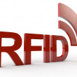 Red RFID Word with symbolic radio waves — Stock Photo #30162303