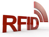 Red RFID Word with symbolic radio waves — Stock Photo