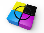 CYMK colored cube — Stock Photo